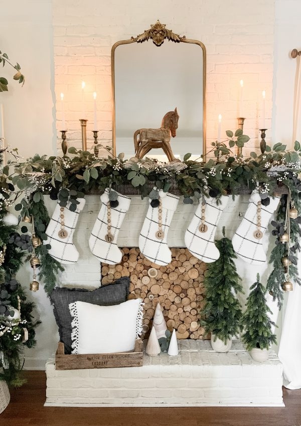 White and Gold Christmas Tree and Mantel Decor