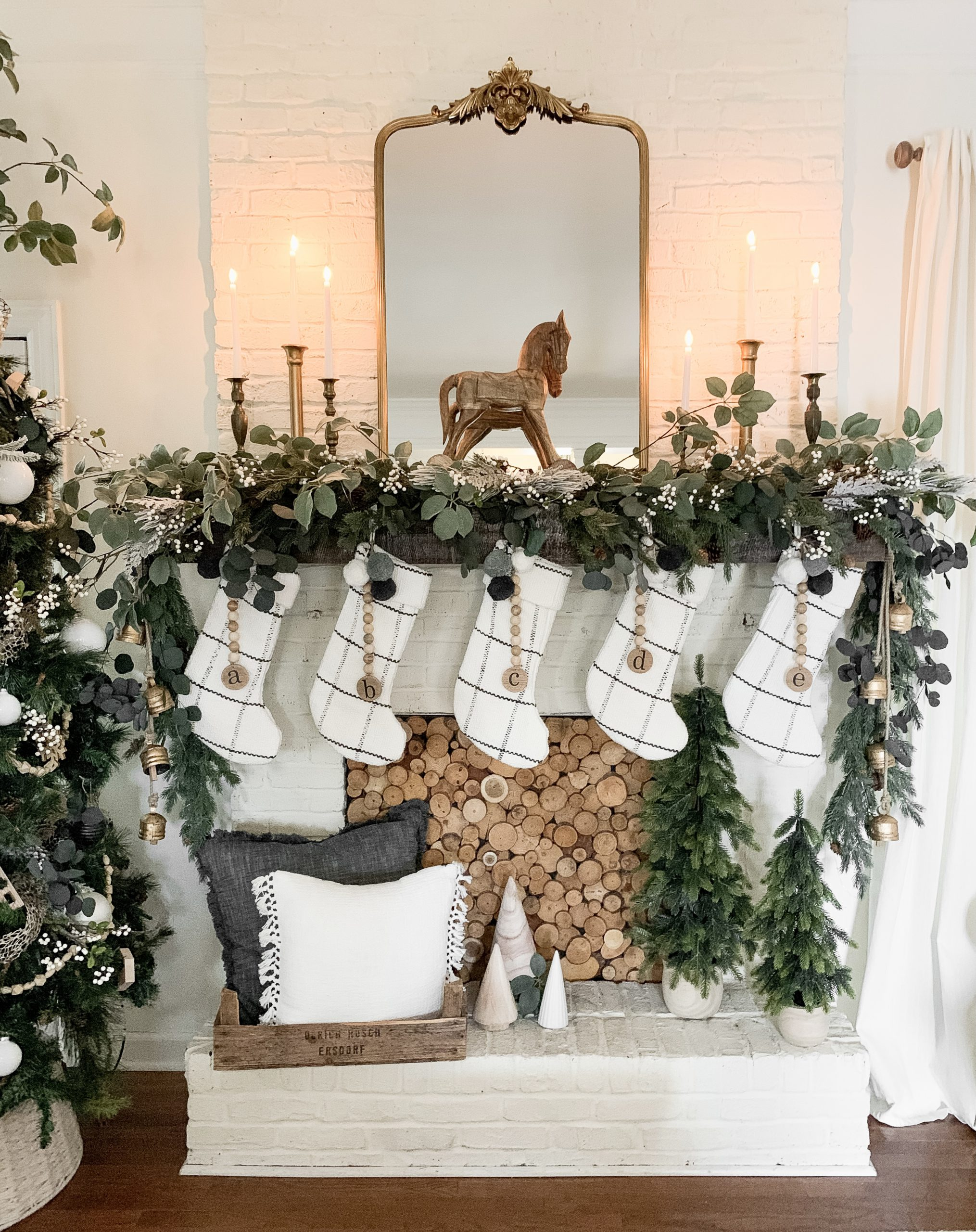 White And Gold Christmas Tree And Mantel Decor Bless This Nest
