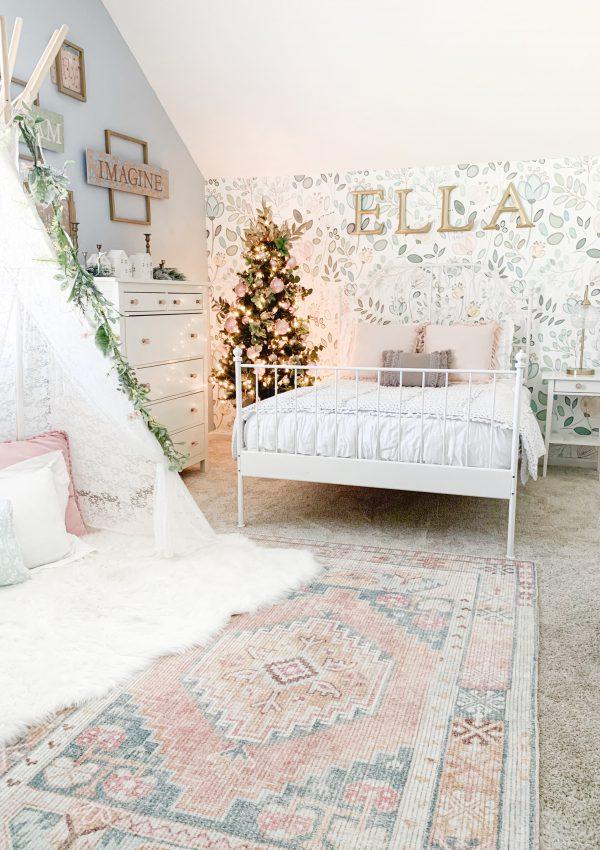 Girl's Bedroom Christmas Tree and Decor