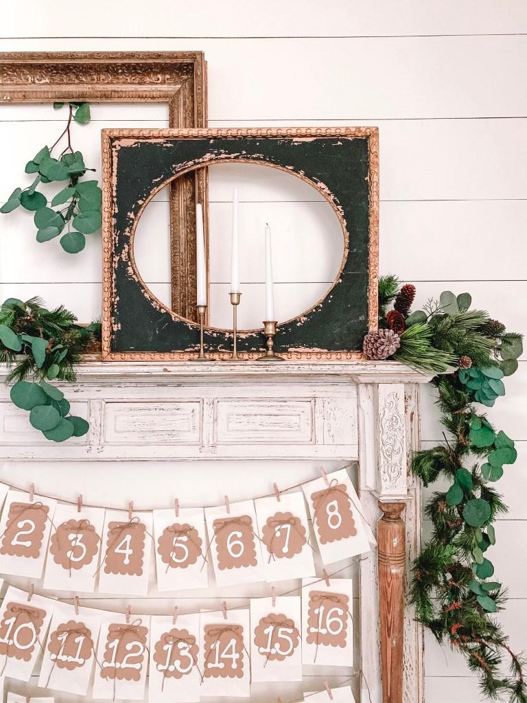 Christmas garland on mantel