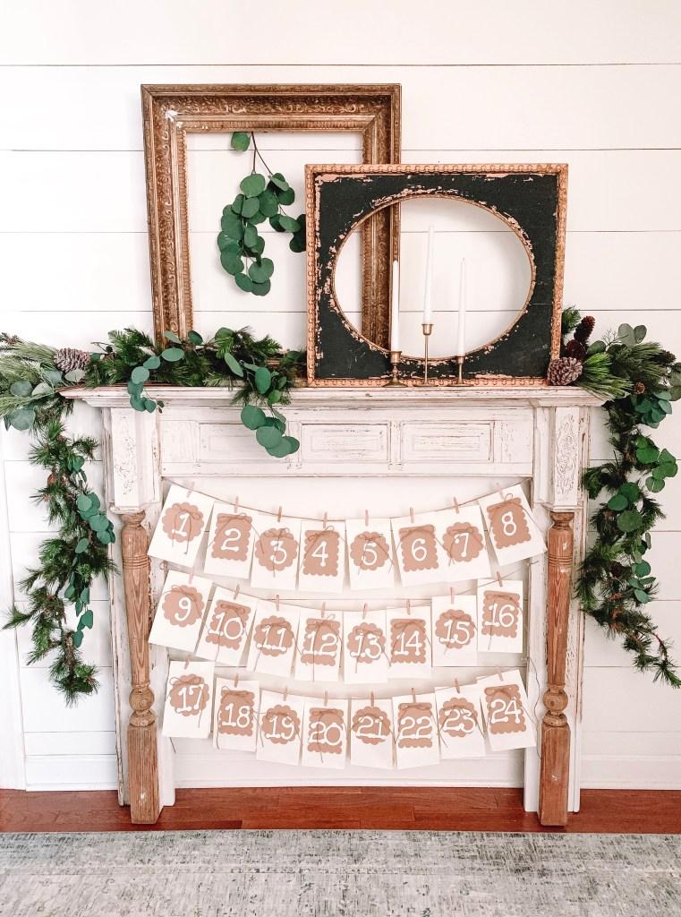 mantel with advent calendar bags
