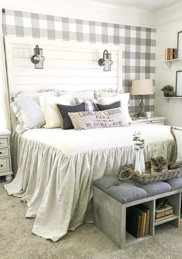 shiplap headboard bed