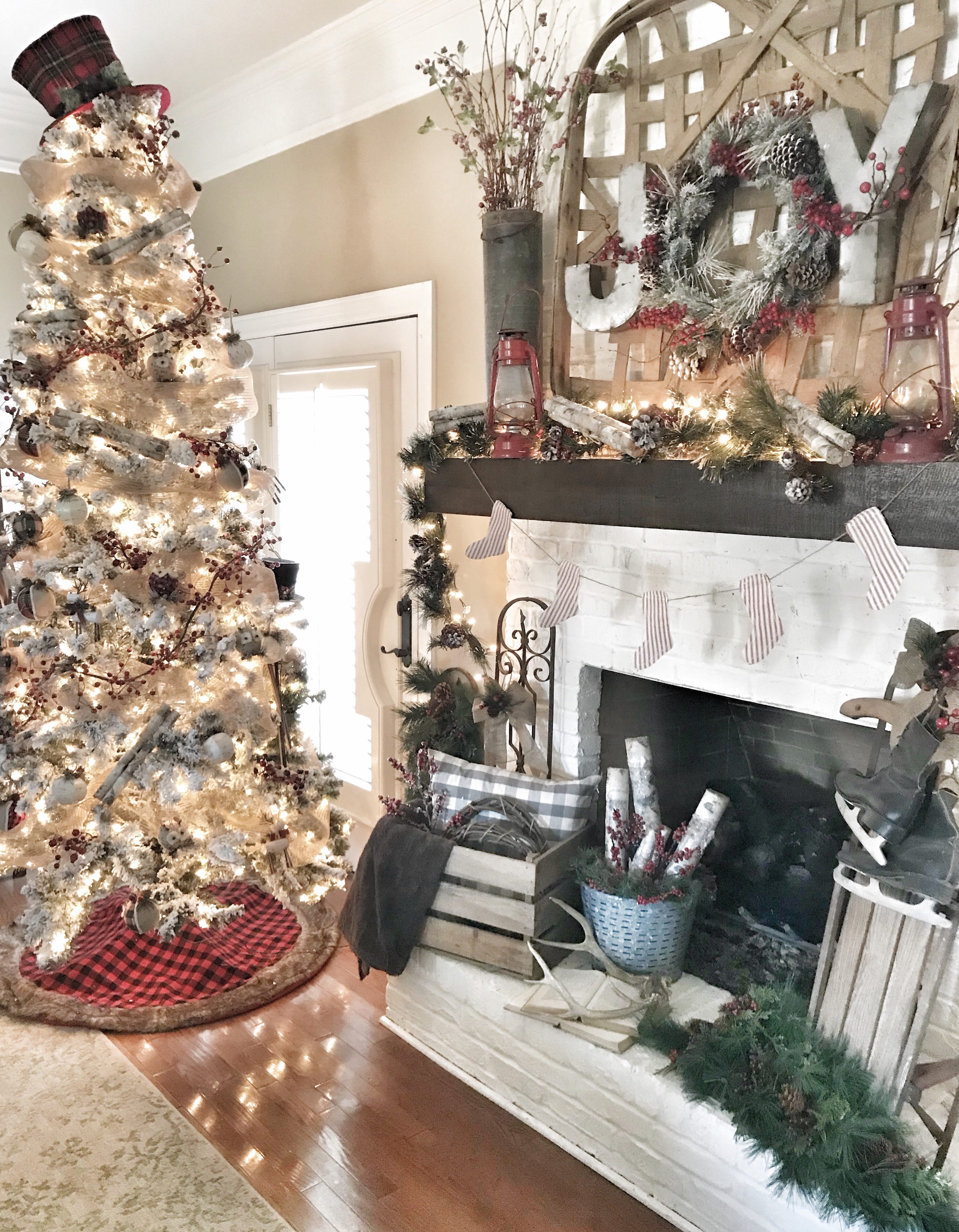Christmas mantel and flocked Christmas tree