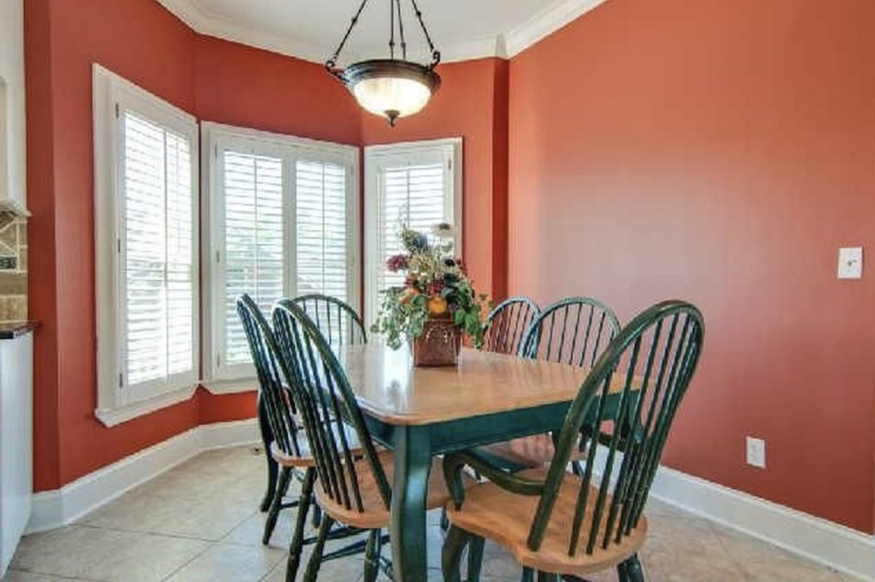 kitchen table with red walls