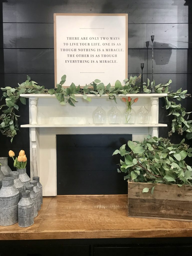 farmhouse fireplace at magnolia