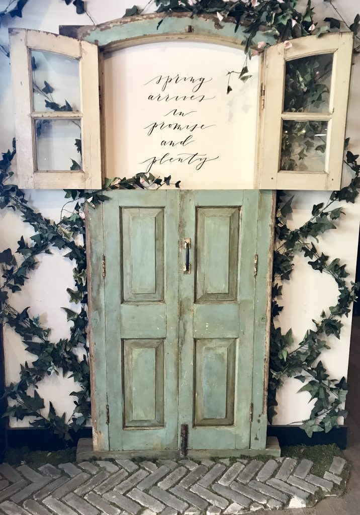 antique door with wording