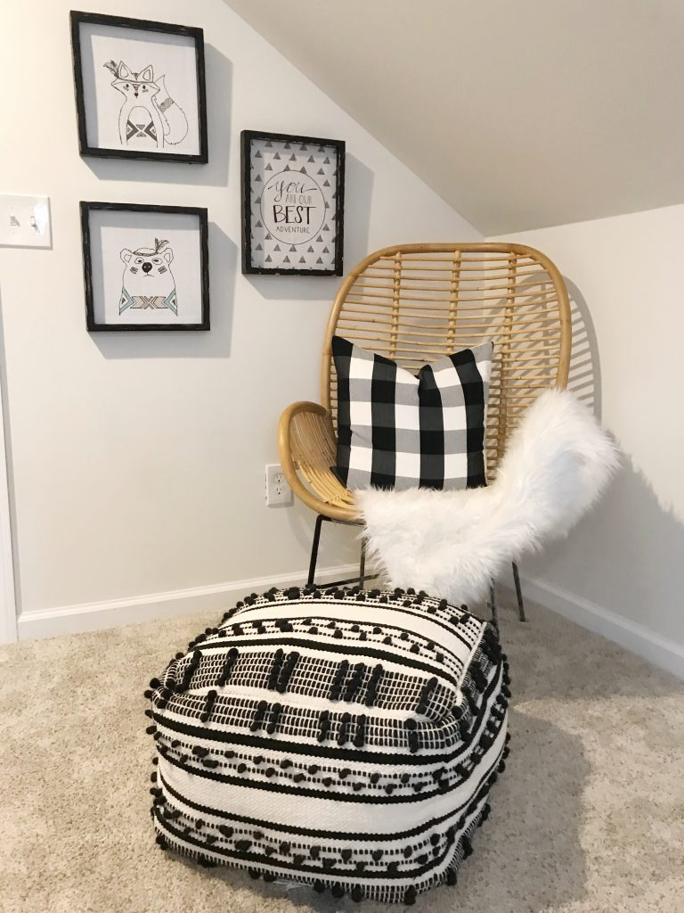 wooden chair with black and white decor