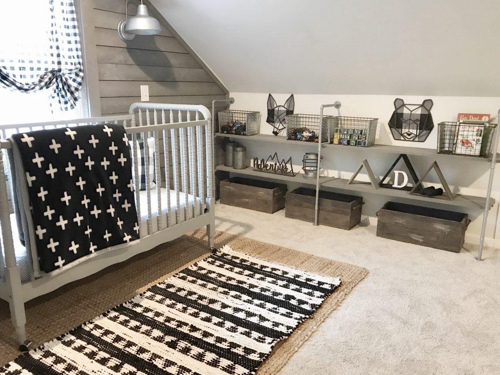 black and white nursery bedroom