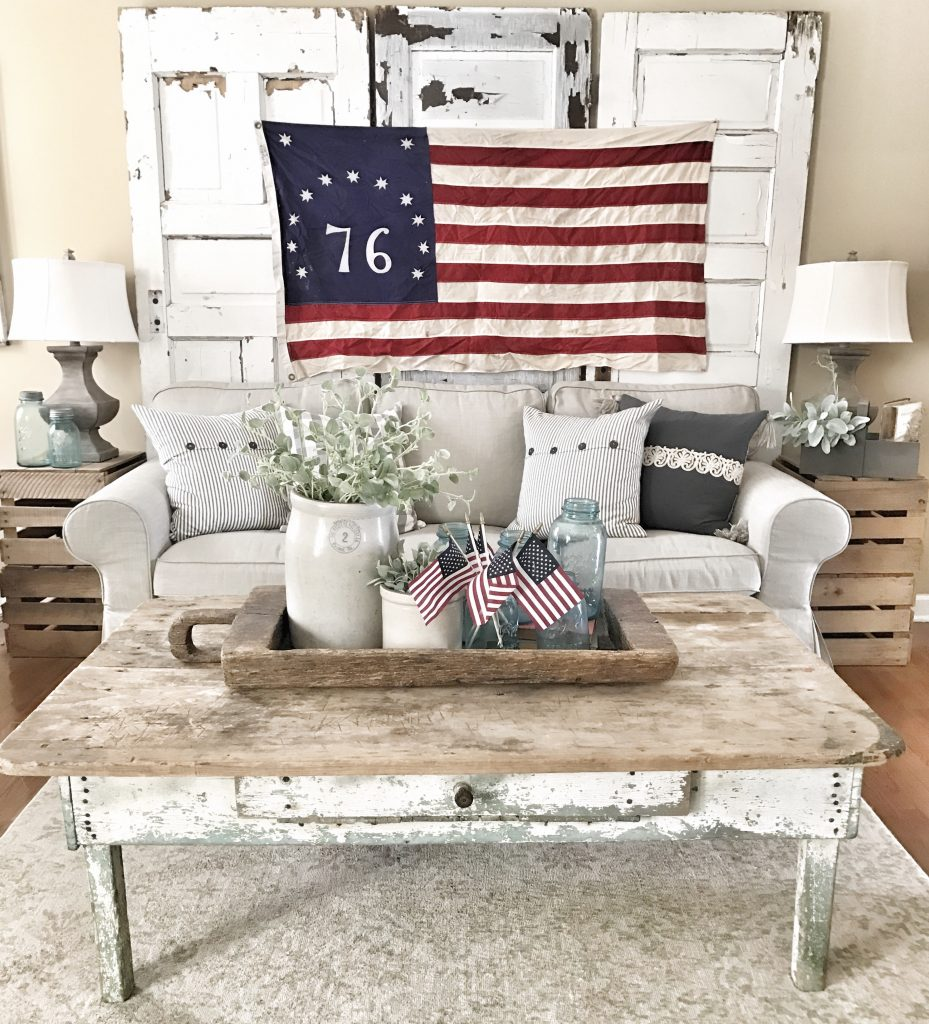 farmhouse living room with vintage american flag