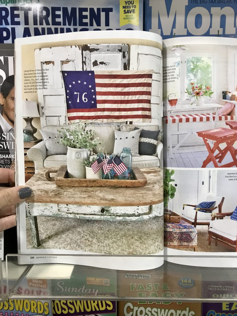 open magazine with living room feature