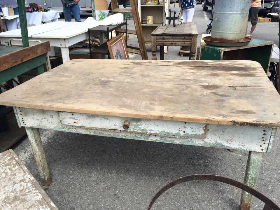 vintage coffee table at flea market