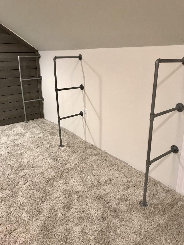 3 silver pipe shelf brackets assembled