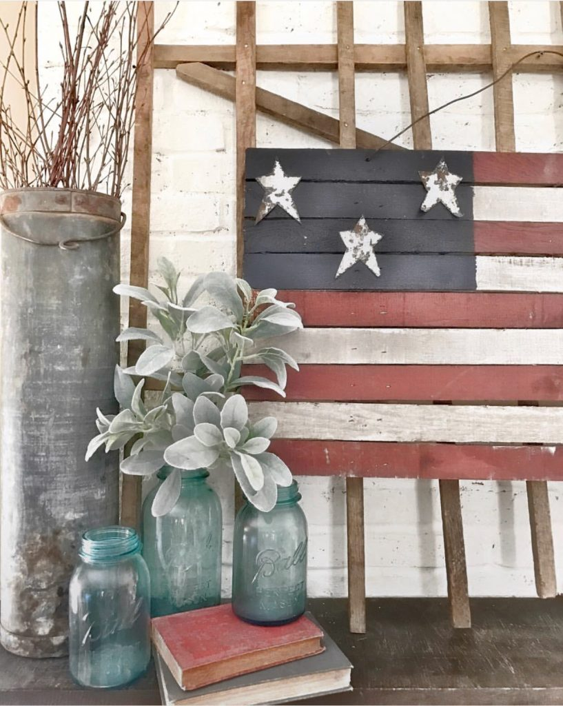 wooden  american flag and blue mason jars