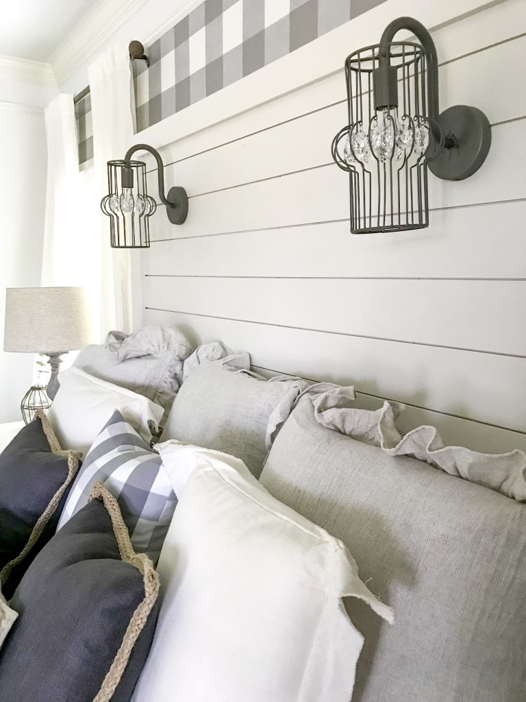 shiplap headboard with lights