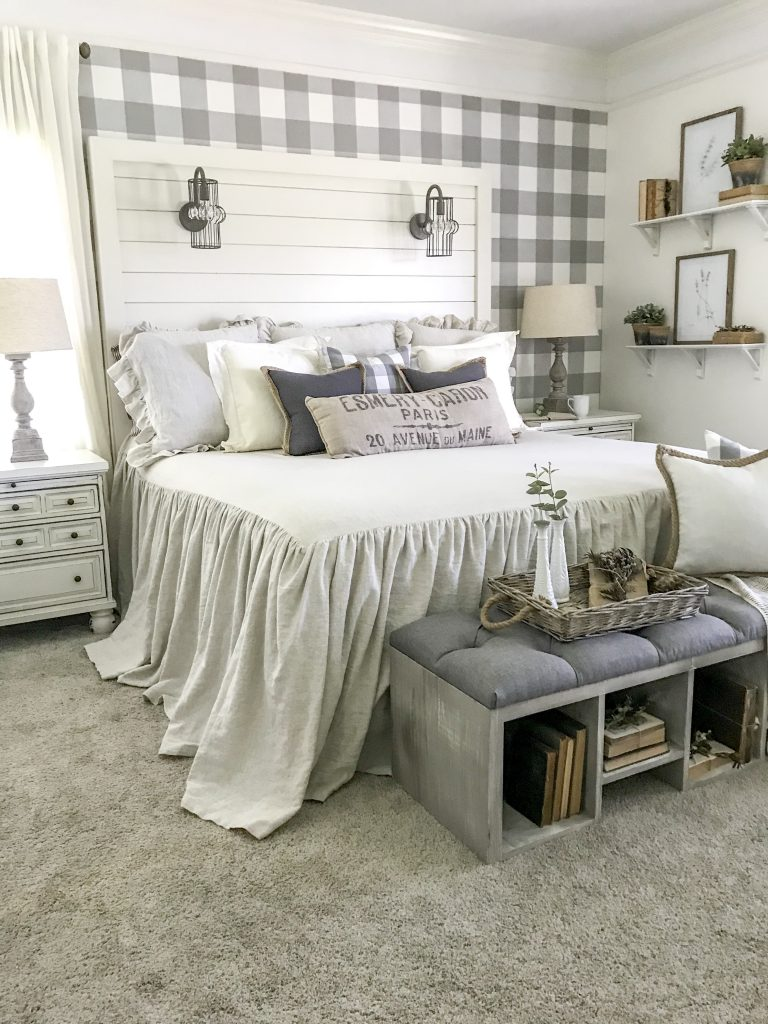 white shiplap headboard bed