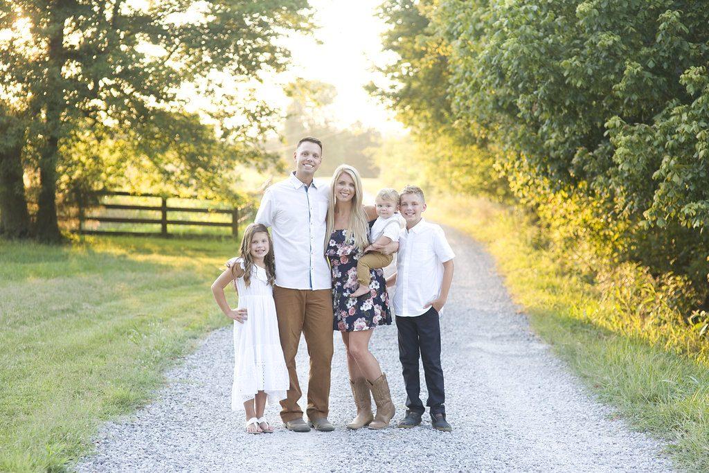 family photo on gravel road