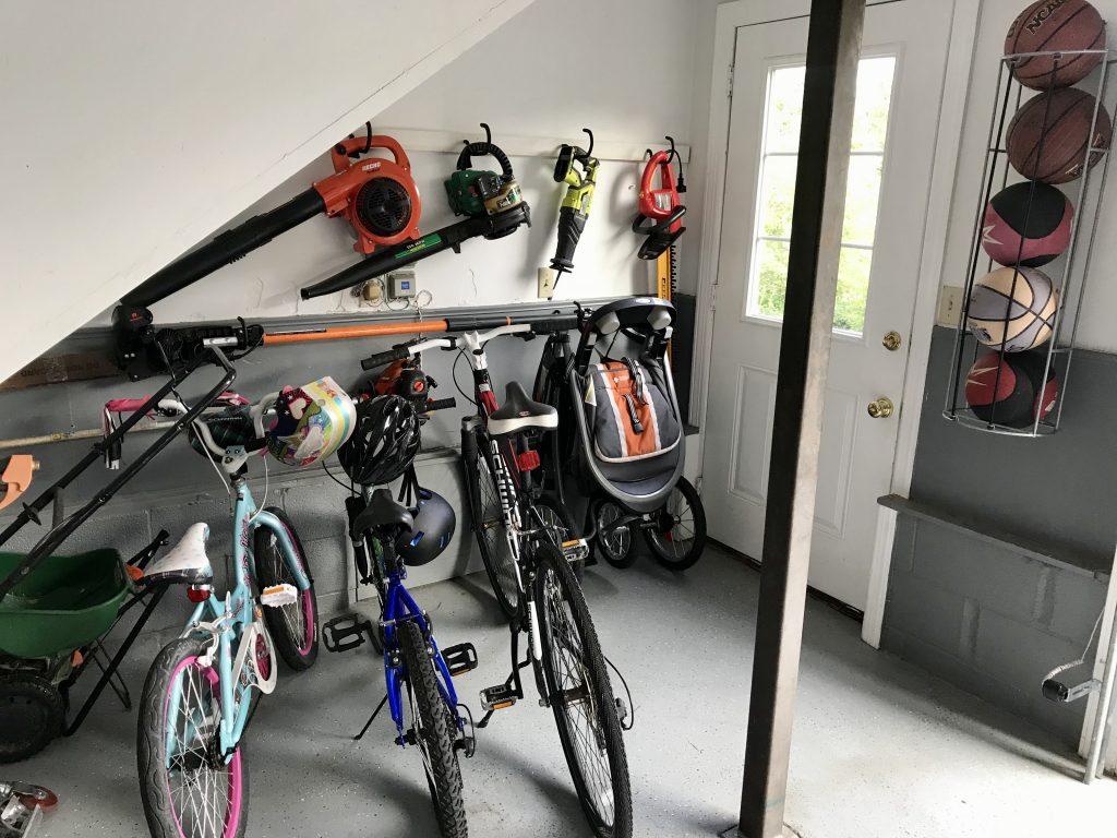 garage transformation bikes and hanging equipment