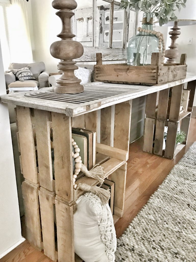 close up of diy console table and decor