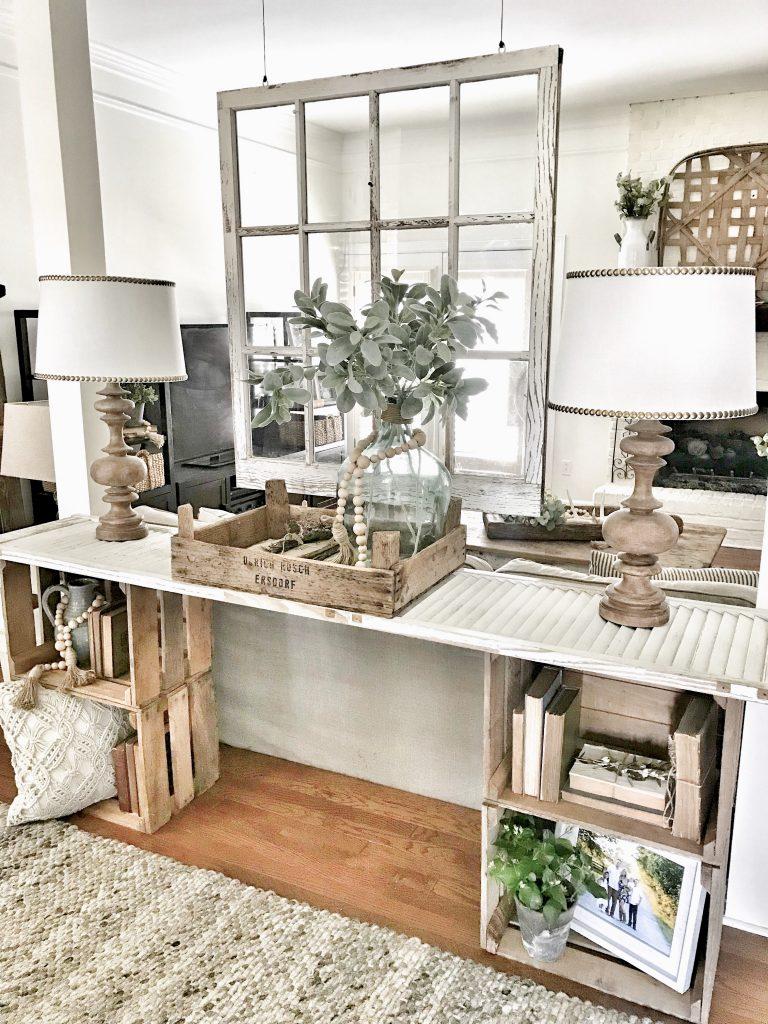 console table with farmhouse decor