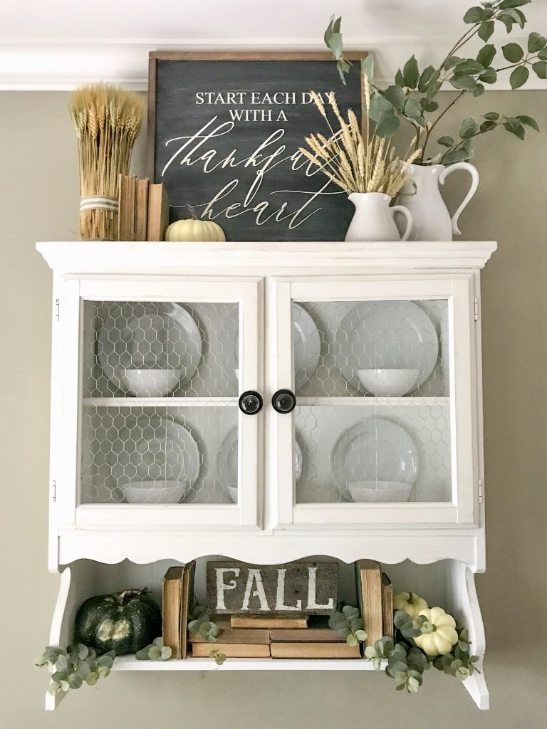 hanging hutch with fall decor