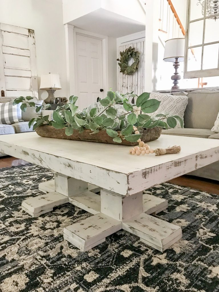 coffee table in farmhouse living room