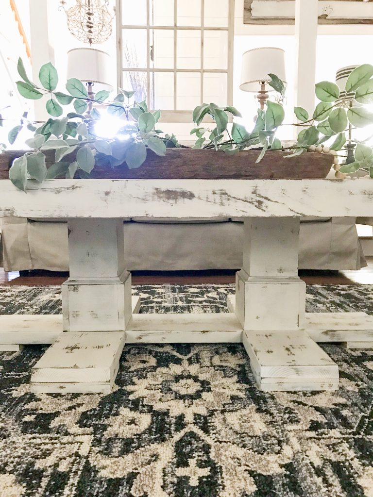 close up of distressed coffee table
