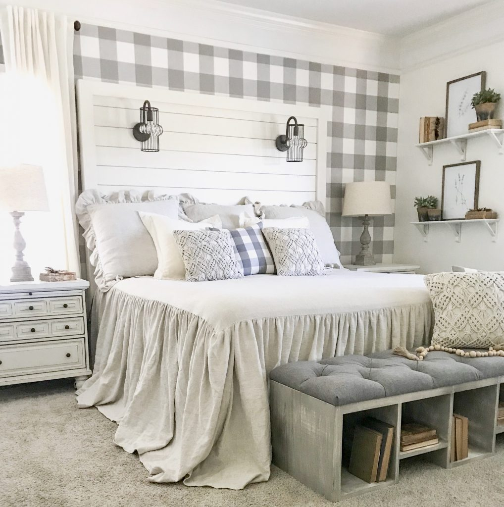 shiplap bed in farmhouse master bedroom