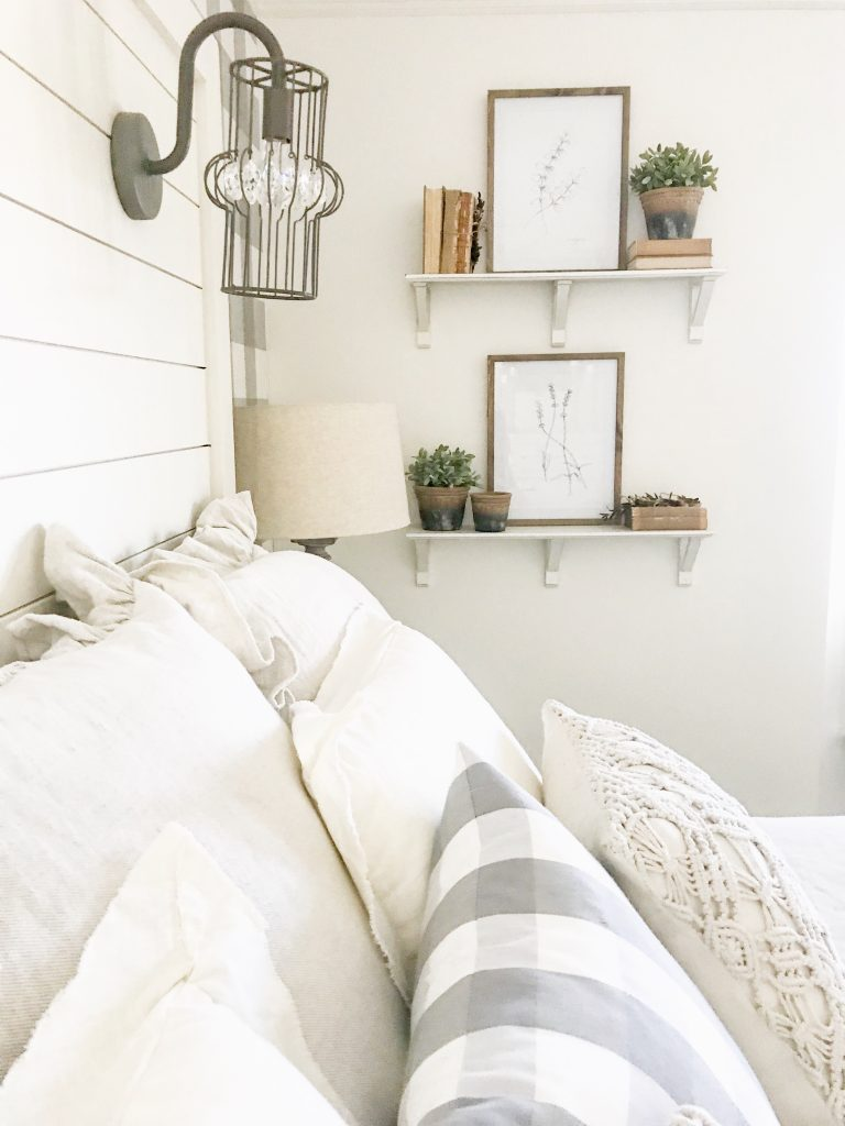 shiplap headboard and pillows