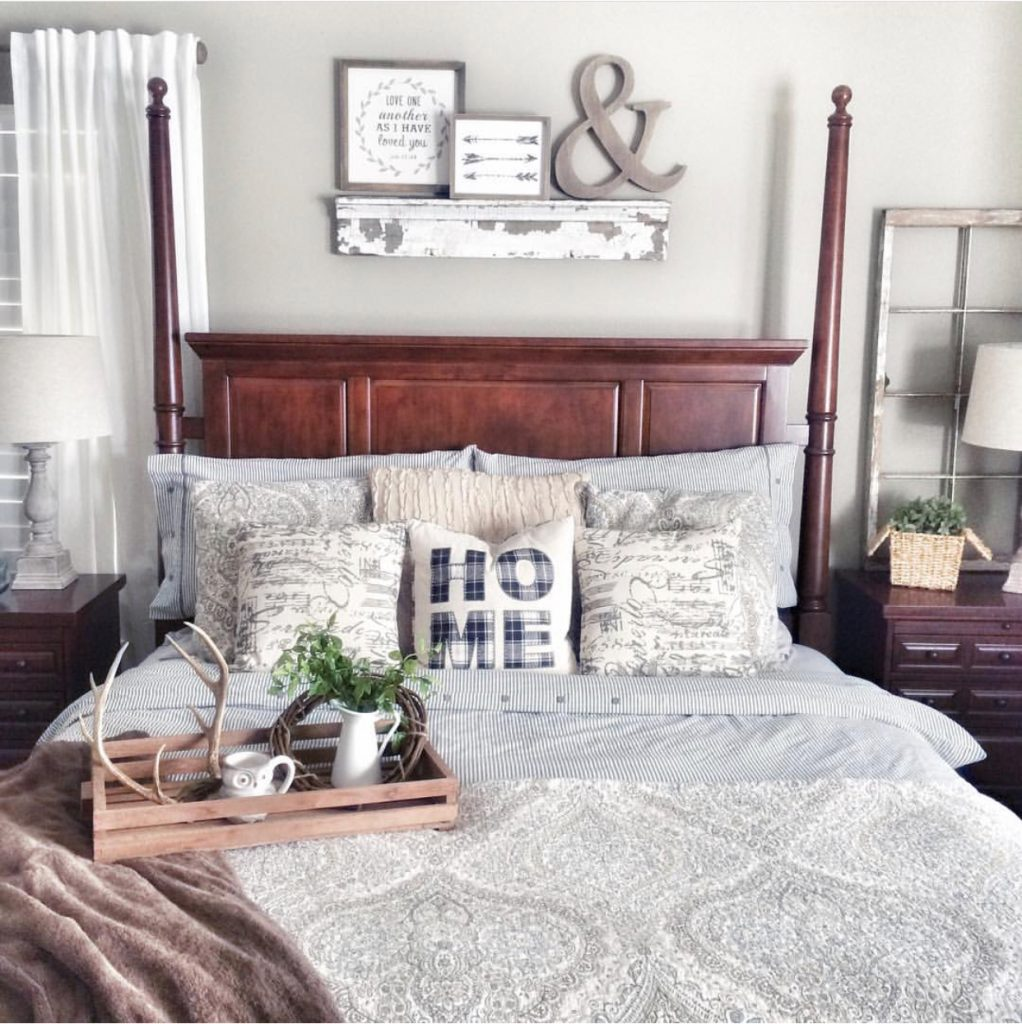 bed with decor