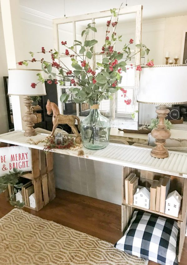 Christmas decor on console table