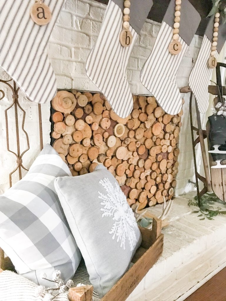 wooden fireplace cover