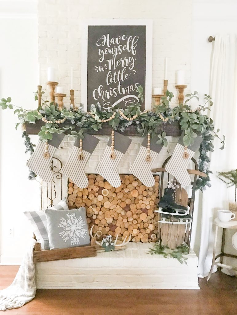 finished wood fireplace cover DIY