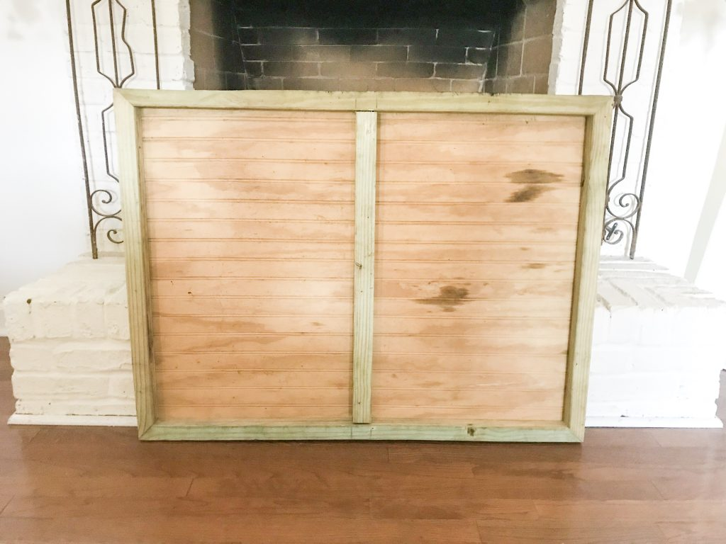back of wooden fireplace insert