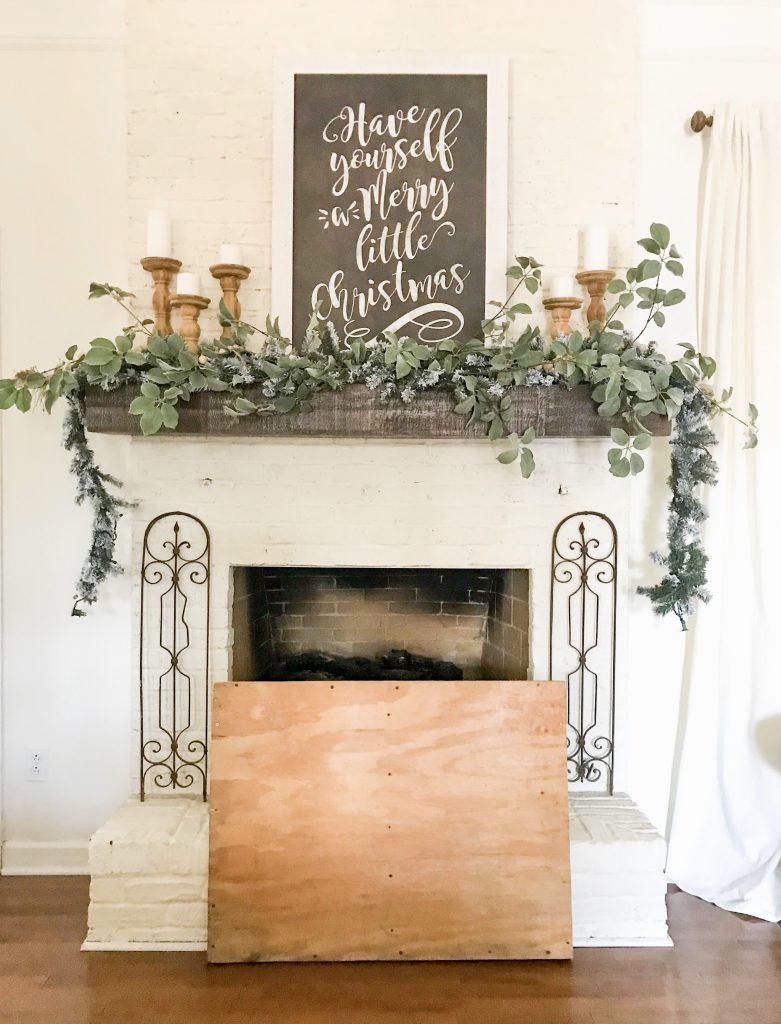 wooden fireplace insert