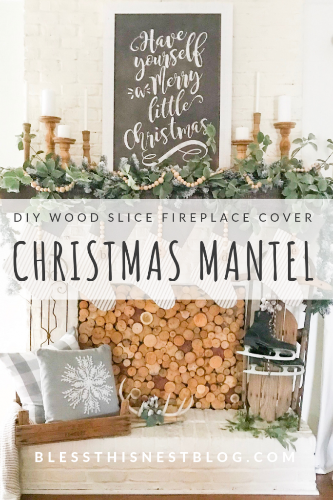 DIY Wood slice fireplace cover