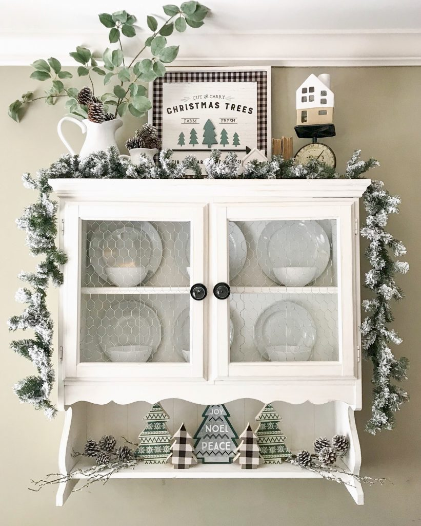 hanging hutch with Christmas decor