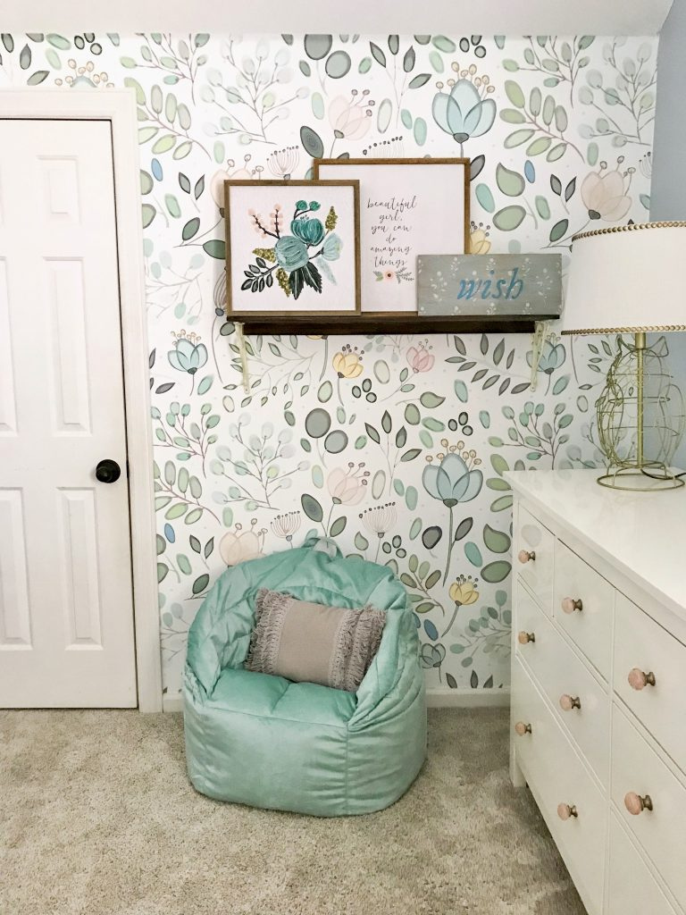 little girl bedroom decor wallpaper and chair