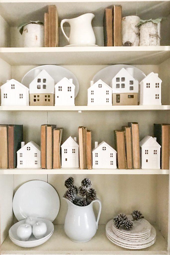 white village on shelves
