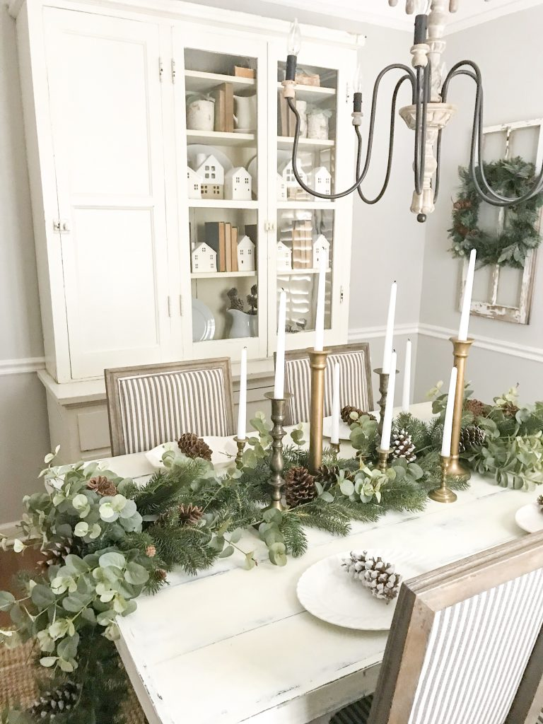 greenery on dining room table