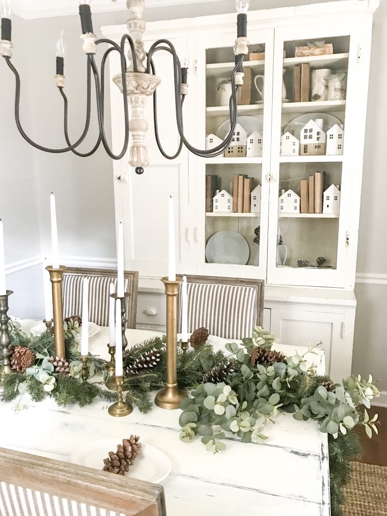 Christmas dining room table and hutch