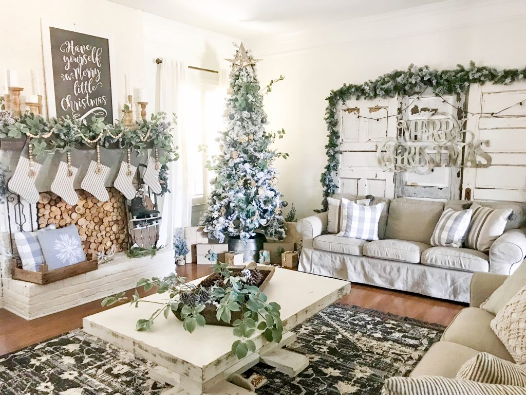 neutral living room decorated for Christmas