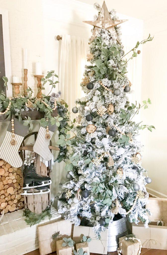 neutral flocked Christmas tree