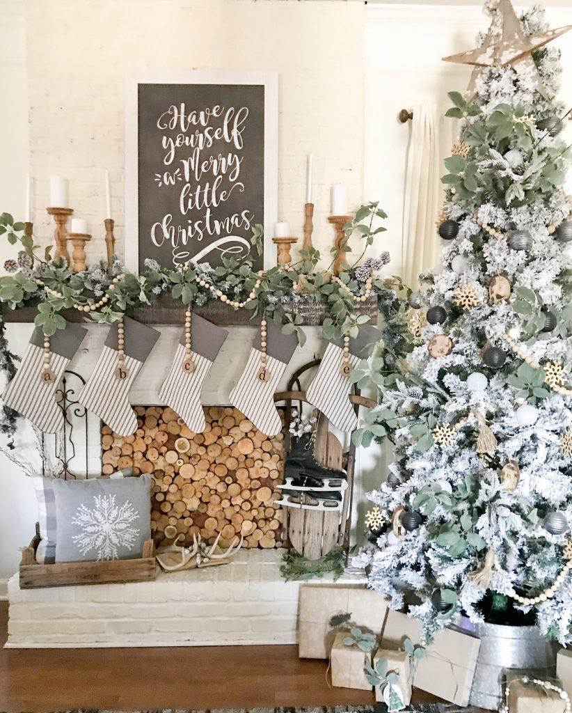 Christmas tree and mantel