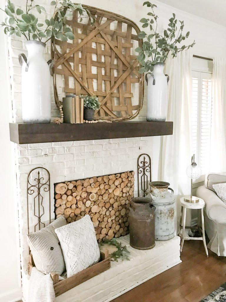 fireplace with farmhouse decor
