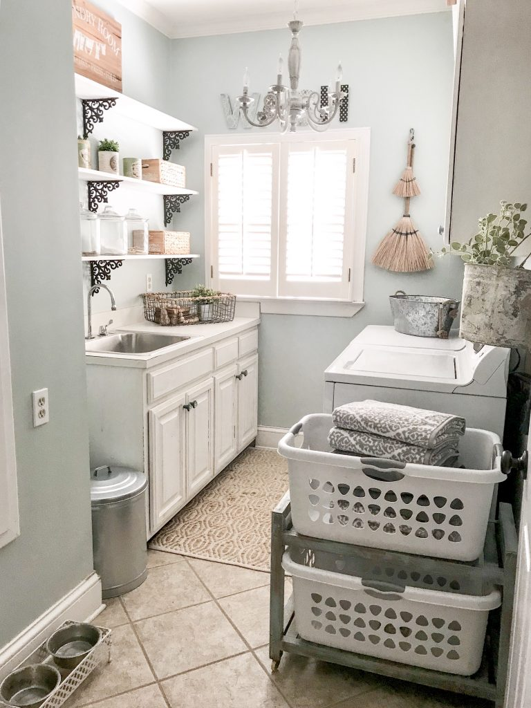 laundry room with palladian blue walls