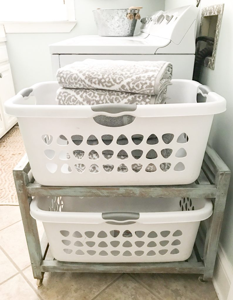 laundry baskets with towels