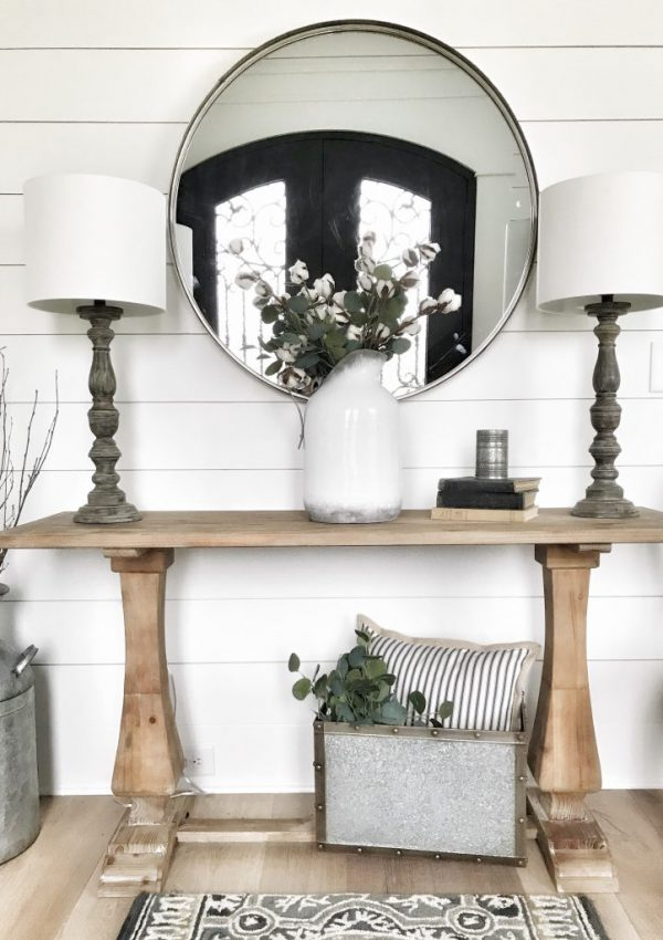 modern farmhouse entryway table