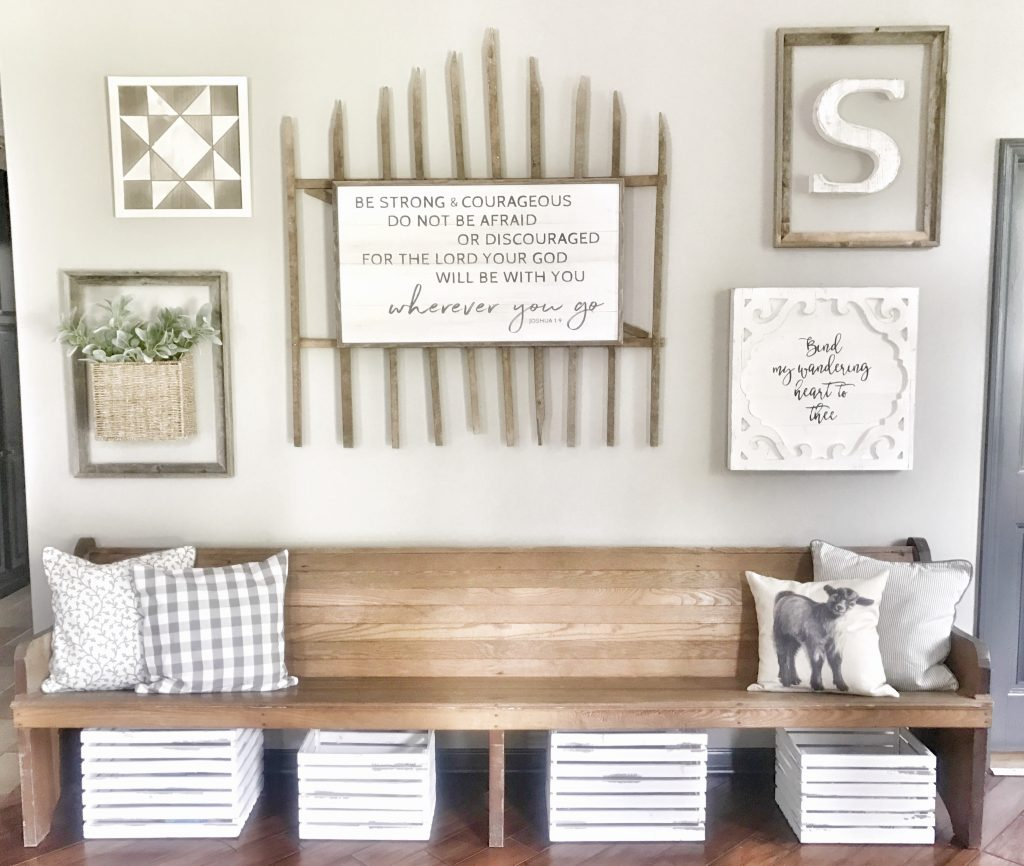 entryway bench and collage wall