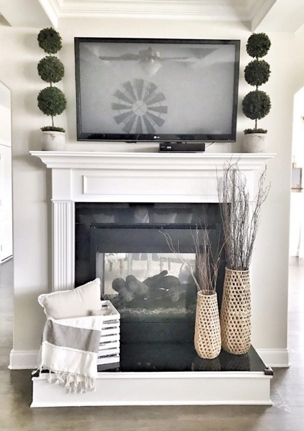 TV above a mantel