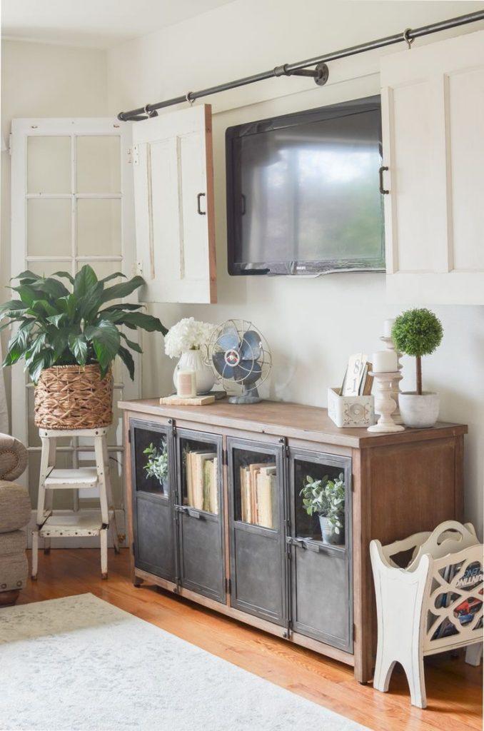 TV behind a sliding door